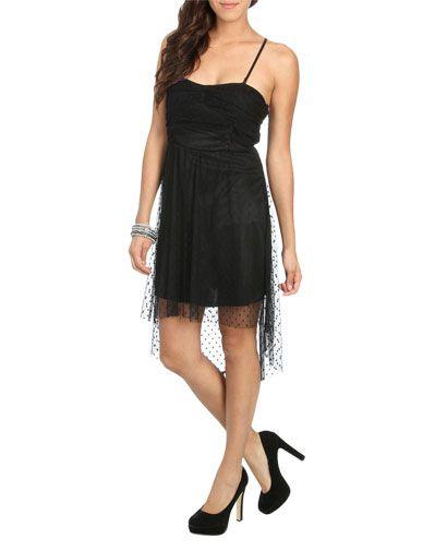 Swiss Dot High Low Dress (Black). Wet Seal. $29.50