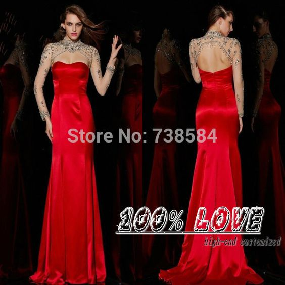 Find More Evening Dresses Information about Free Shipping Red Crystal Keyhole Back Sexy Elegant Long Sleeve Evening Dresses,High Quality dresses cap sleeves,China sleeve chiffon dress Suppliers, Cheap sleeve talk from 100% Love Wedding Dress & Evening Dress Factory on Aliexpress.com