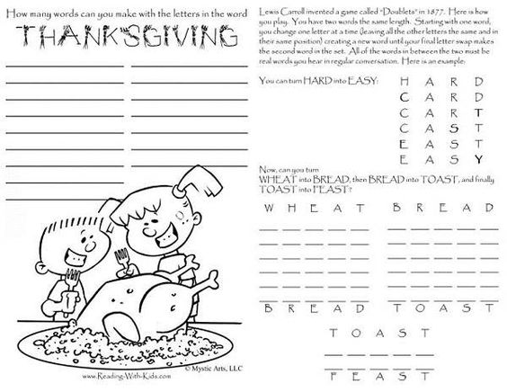 Thanksgiving crossword puzzles for 5th graders thanksgiving list
