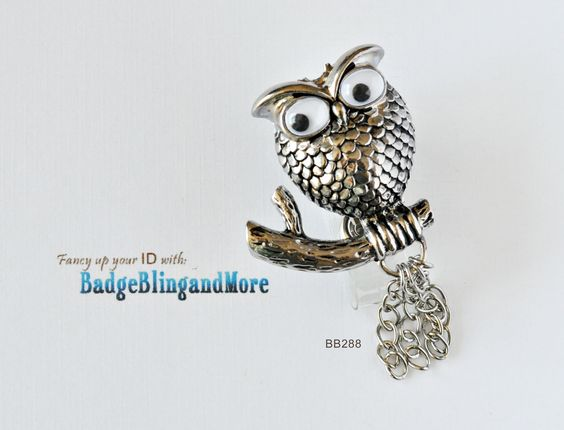 Cute Silver OWL sitting on a branch, with roving eyes, and dangly chains -  Badge Clip BB288. $10.00, via Etsy.