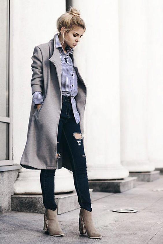 ботинки и серое пальто сочетание
