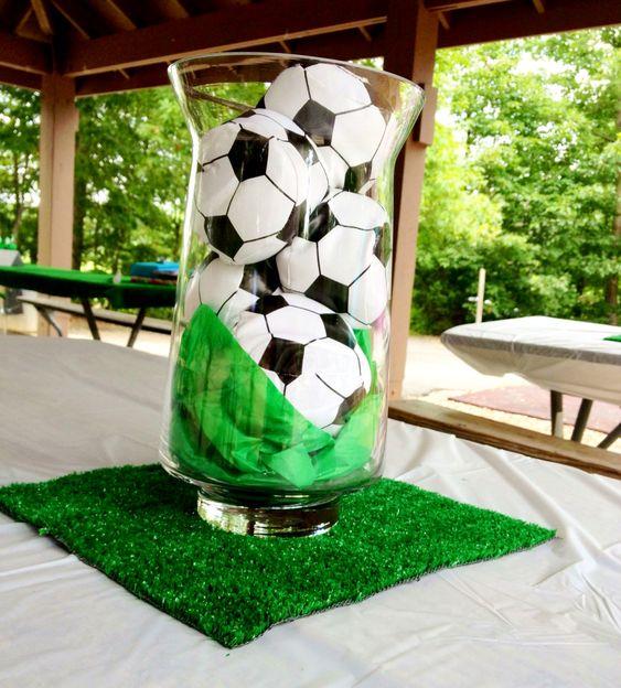 Soccer center piece party pinterest