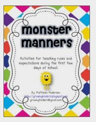Monster Fun! Teaching Manners and Expectations by Growing Kinders | Teachers Pay Teachers