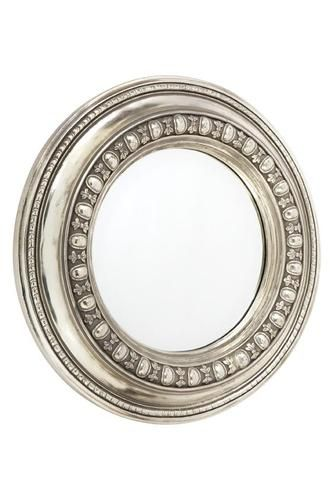 NEW Antique Silver Resin Ornate Frame Round Circular Bevelled Wall Mirror | eBay