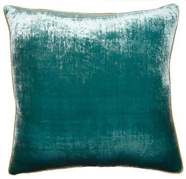 Peacock Pillow, Teal Velvet - contemporary - Decorative Pillows - Square Feathers, Rhome Living LLC