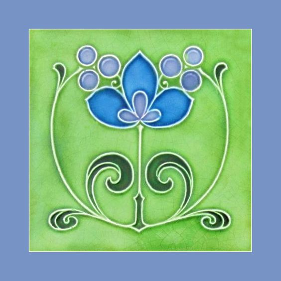 """168 Art Nouveau tile by Wooliscroft (1906). Courtesy of Robert Smith from his book """"Art Nouveau Tiles with Style"""". Buy as an e-card with a personalised greeting!"""