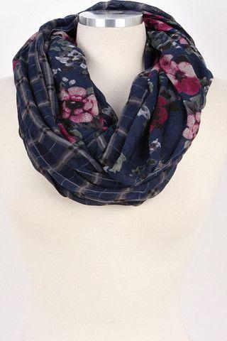 Floral Plaid Infinity Scarf (Navy) – Bag Brag Co.