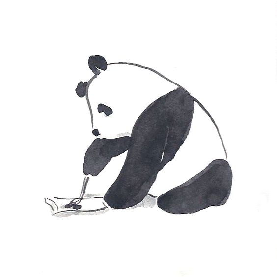 Calligraphy -- black on white. A perfect pastime for a patient panda.
