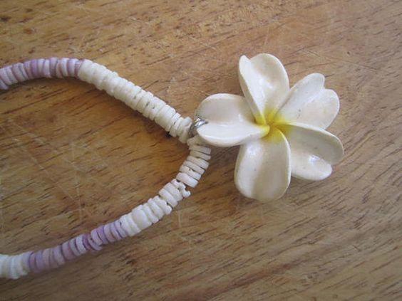 Hawaiian plumeria flower necklace tropical jewelry by beadshawaii