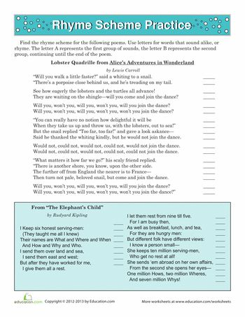 Rhyme Scheme Worksheet Practice | Worksheet
