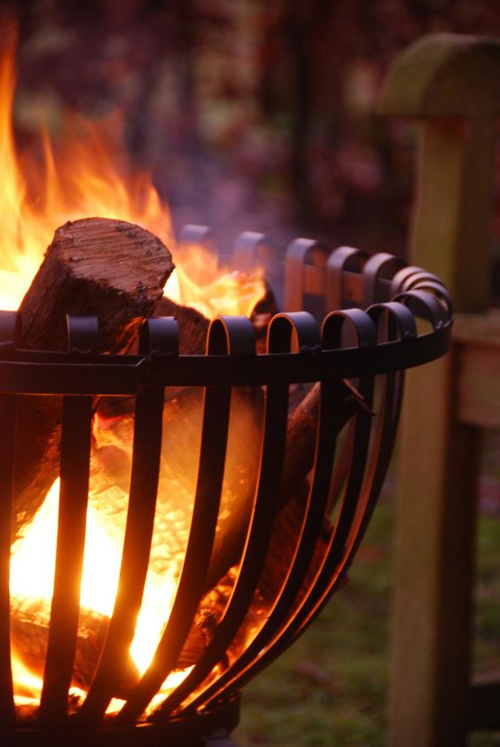 Autumn Night Fire Pit : Tulip fire basket night and pits