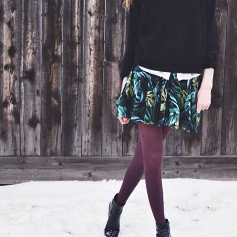 Cute combination #outfitwithtights #blacktights starting #weekend by charlymnf