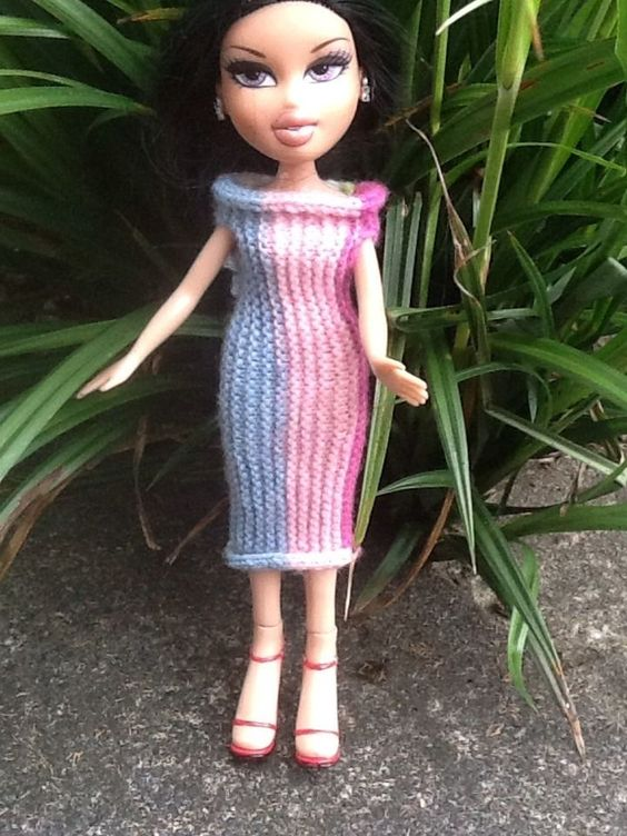 Knitting Patterns For Bratz Doll Clothes : Hand Knitted Bratz/tree Change Doll Clothes Pretty Multi ...