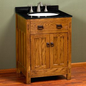 24 mission hardwood vanity for semi recessed sink products style and vanities for Mission style bathroom vanity