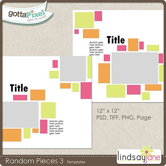 Random Pieces 3 Templates :: Gotta Pixel Digital Scrapbook Store by Lindsay Jane $2.00