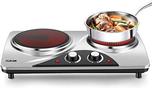 Amazing Offer On Cukor Portable Electric Stove 1800w Infrared Double Burner Heat Up In Seconds 7 1 Inch Ceramic Glass Double Hot Plate Cooktop Dorm Office Home Camp Compatible W All Cookware Online In 2020