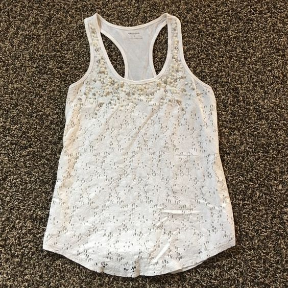 Express tank top White embellished express tank top. Great condition. Gently used. Express Tops Tank Tops