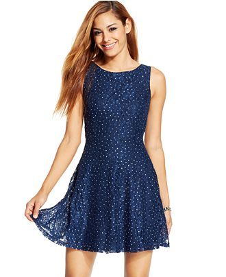 Speechless Juniors' Glittered Lace Dress (Only at Macy's) - Juniors Dresses - Macy's