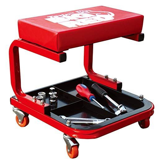 Torin Big Red Rolling Creeper Garage Shop Seat Padded Mechanic Stool With Tool Tray Red Mechanics Stool Mechanic Gifts Shop Stool