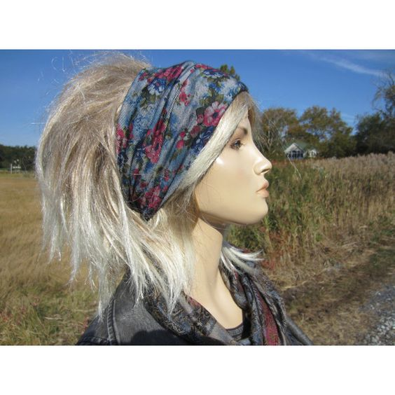 Boho Flower Headband Yoga Hair Wrap Floral Denim Printed Wide Knit... ($28) ❤ liked on Polyvore featuring accessories, blue, hair accessories and headbands & turbans