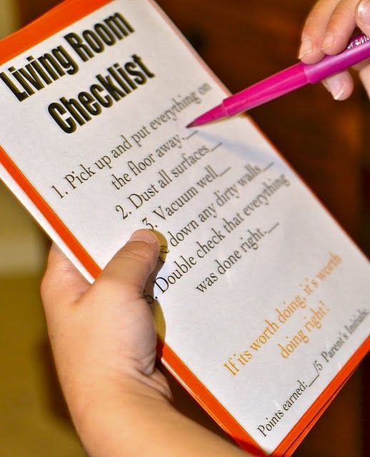 Cleaning checklist for kids...Awesome!!