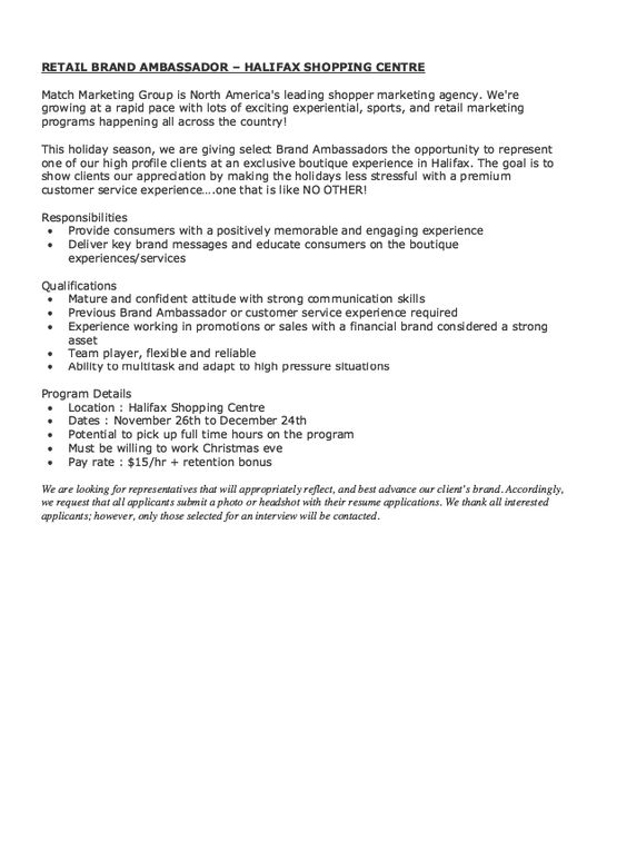 Retail Brand Ambassador Job Description Resume - Http