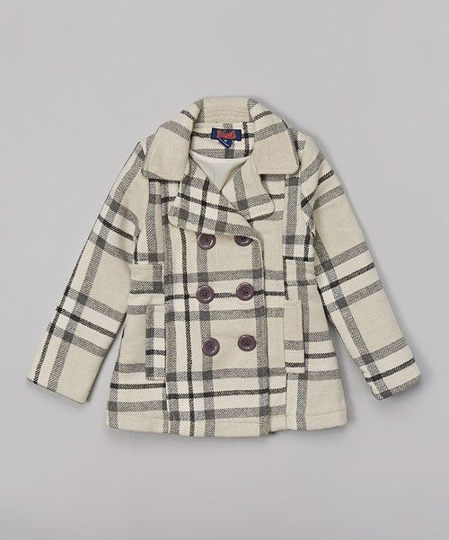 Take a look at the Beige & Black Plaid Coat - Toddler & Girls on #zulily today!
