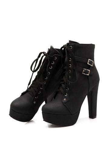 Shoespie Lace up Chunky Heel Ankle Boots - Shoespie.com