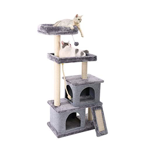 Pawz Road Cat Tree Multilevel And Luxury Cat Towers 50 Inches With 2 Condos Spacious Perches Scratching Post Dang Luxury Cat Tree Luxury Cat Scratching Post
