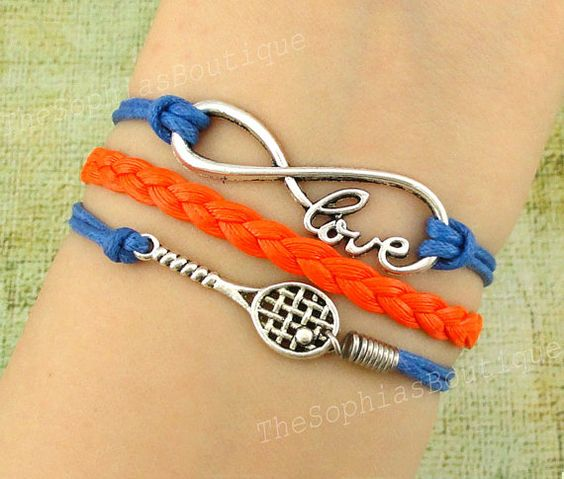 Tennis Charm Bracelet: Infinity Love, Infinity, Love, Tennis Racket Charm