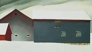 "Georgia O'Keeffe ""Barn with Snow"" 1934"