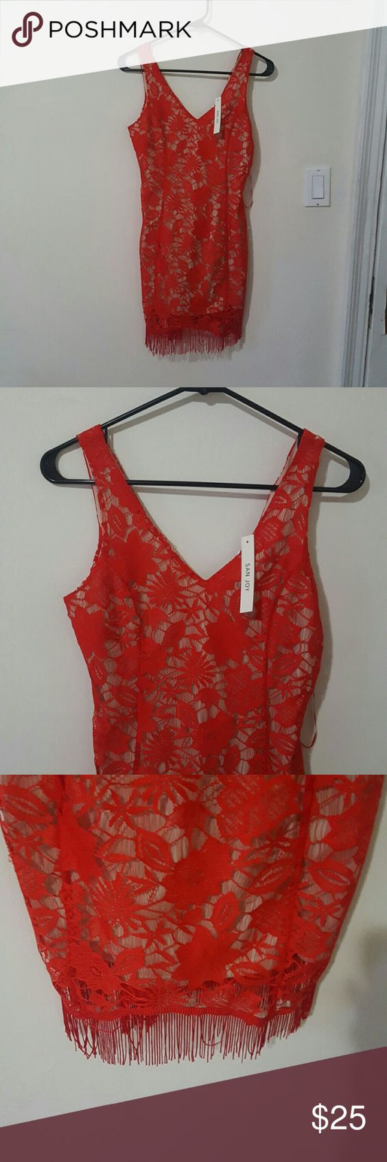 NWT San joy lace dress Not from for love and lemons but similiar style. New with tags. Red lace over a nude slip. Fringe bottom. Brand is San joy For Love and Lemons Dresses Mini