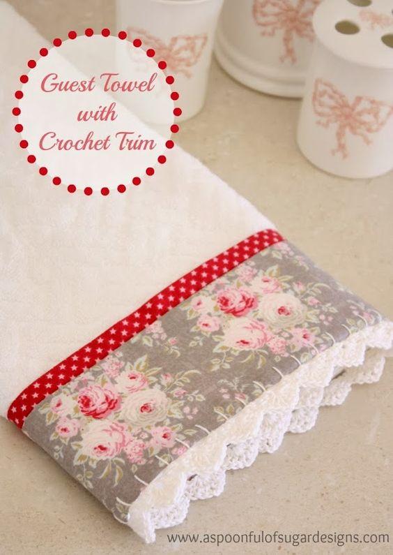 Guest Towel with Crochet Trim | A Spoonful of Sugar Festón a mano y puntilla de crochet a mano también