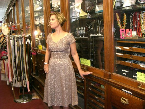 1950's Norman Original Lace Overlay Party Dress