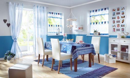 """Teppich """"Michelle"""": fransiges Streifendesign in wohnlichen Farben - blau"""