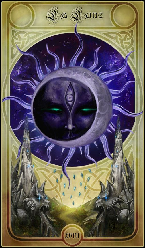 La Lune- The Moon card is my card.  This is beautiful art. I wonder what deck this is?