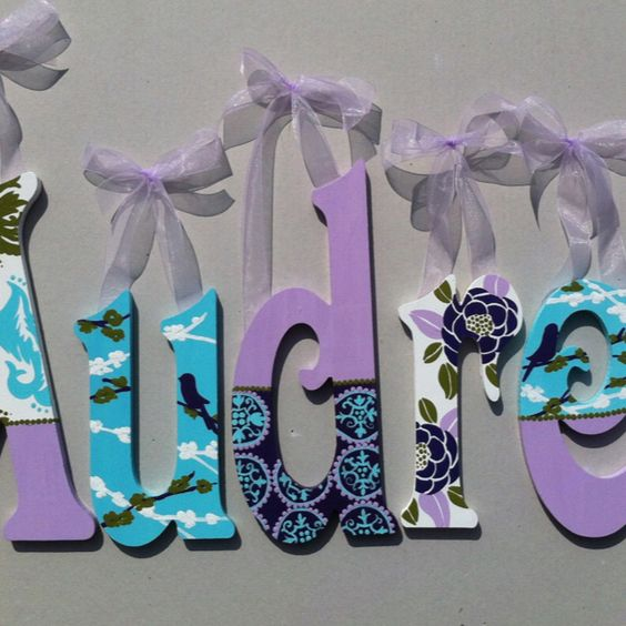 Teal and plum custom handpainted wooden letters. Coordinates with Joel dewberry aviary fabric.