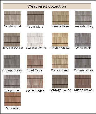 Weathered vinyl shakes in straw color is our choice for the lower half of the front of the house.