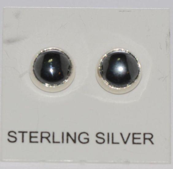 Hematite Earrings Sterling Silver Gemstone Studs 6mm Round