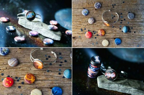 Interchangeable space bracelets. Wear a different planet or nebula every day of the week.