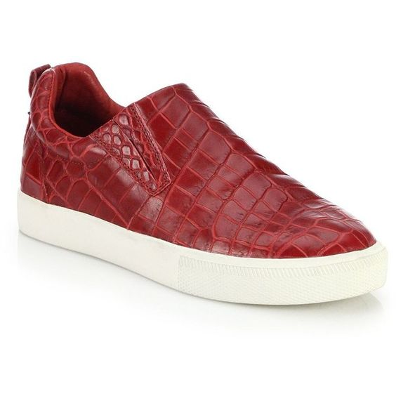 Ash Illico Croc-Embossed Leather Slip-On Sneakers (270 CAD) ❤ liked on Polyvore