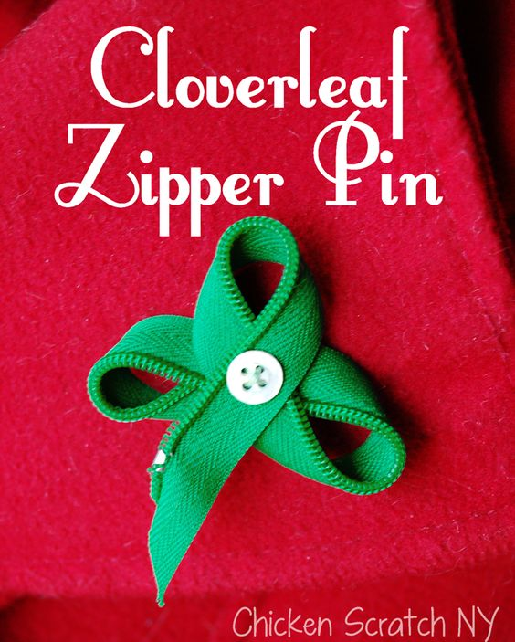3 Leaf Clover Zipper Pin Tutorial