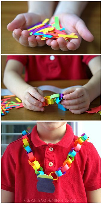 Rainbow & Pot of Gold Chain Necklace - St. Patrick's Day craft for kids! | CraftyMorning.com:
