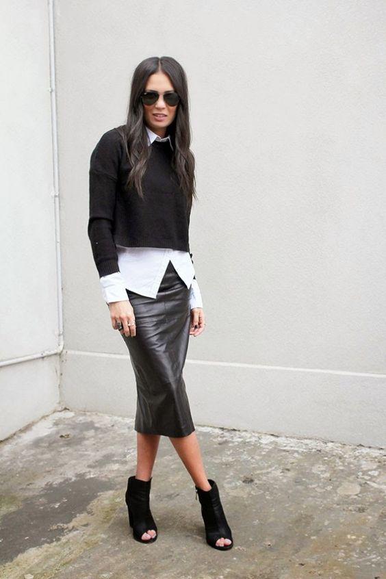 black, leather, pencil, skirt, fall, inspo