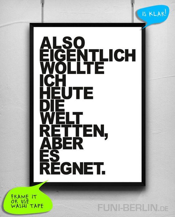 "Poster ""REGEN."" // poster by Funi Berlin via DaWanda.com"