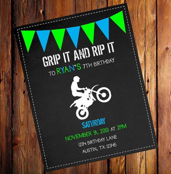 Dirt Bike Party, Birthday Party Invitations And Colors On