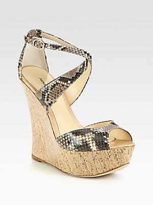Alexandre Birman Python & Cork Wedge Sandals