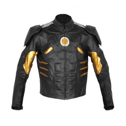 Iron Man Black Original Leather Motorbike Jacket Celebrity Leather Jacket Celebrities Leather Jacket Motorcycle Jacket Mens Motorbike Jackets