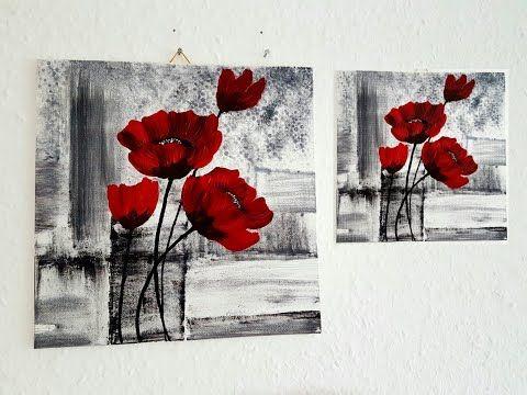 blumen malen acryl rot schwarz weiss fur anfanger flowers acrylic painting red black for beginners youtube kunstproduktion bronze skulpturen abstrakt moderne bilder