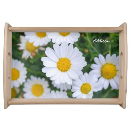 Personalized Small Serving Trays With Daisy